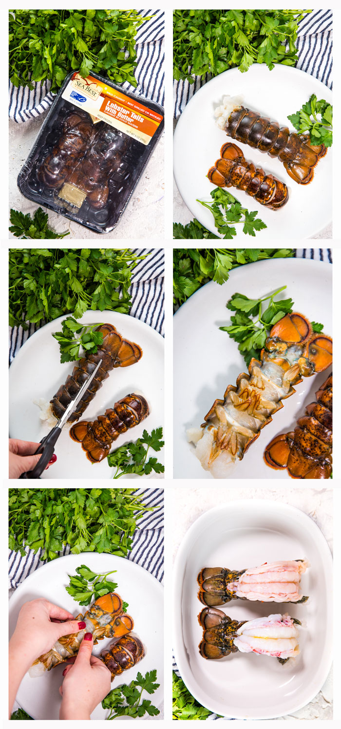 Step by step photos for how to butterfly lobster tail