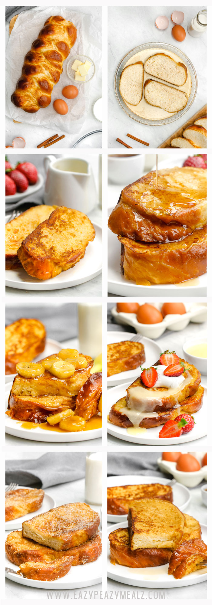French toast- classic french toast topped 4 ways.