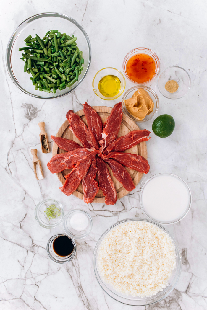 Ingredients for low carb beef satay