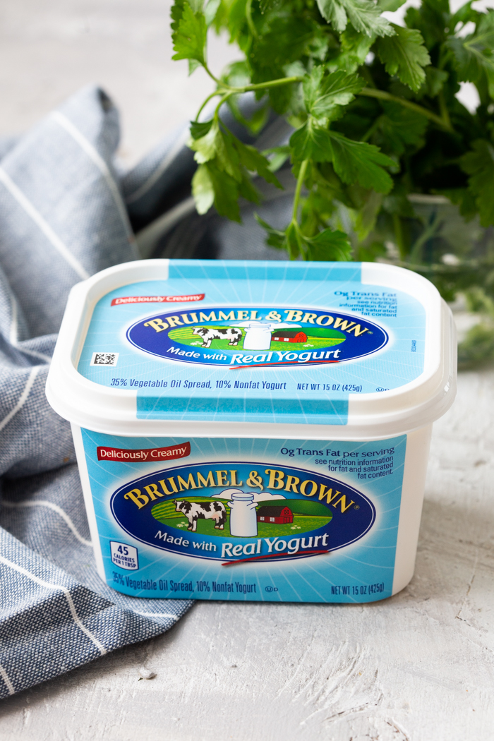 A container of Brummel and Brown Original Spread