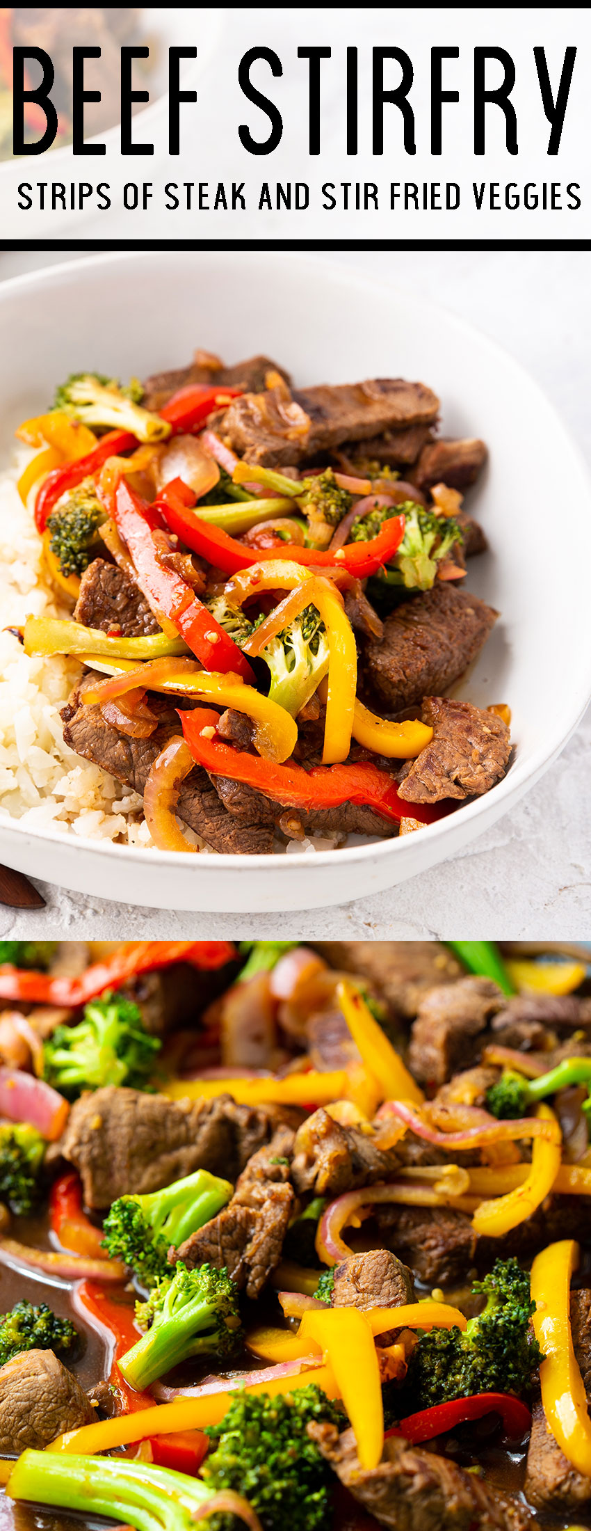 Beef stir fry in a skillet and in a white bowl