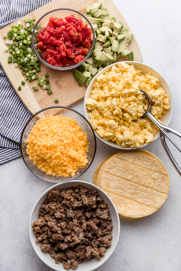 All the ingredients you need for breakfast taquitos