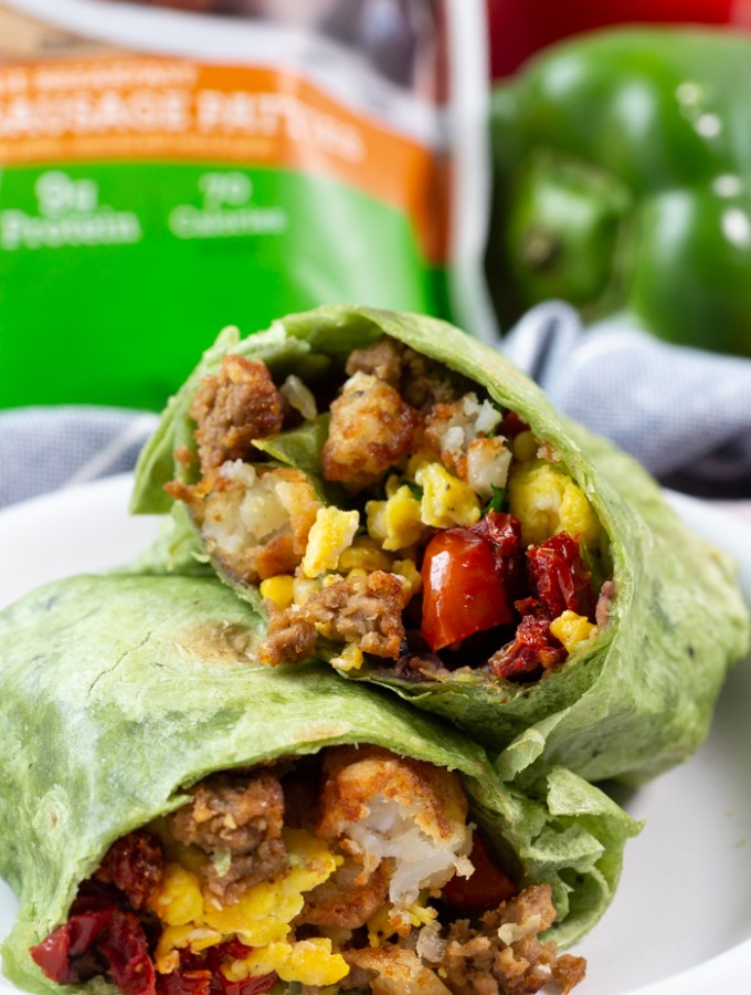 Veggie breakfast burrito with Morningstar Farms