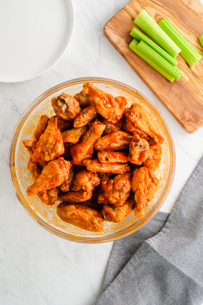 Buffalo wings in a bowl