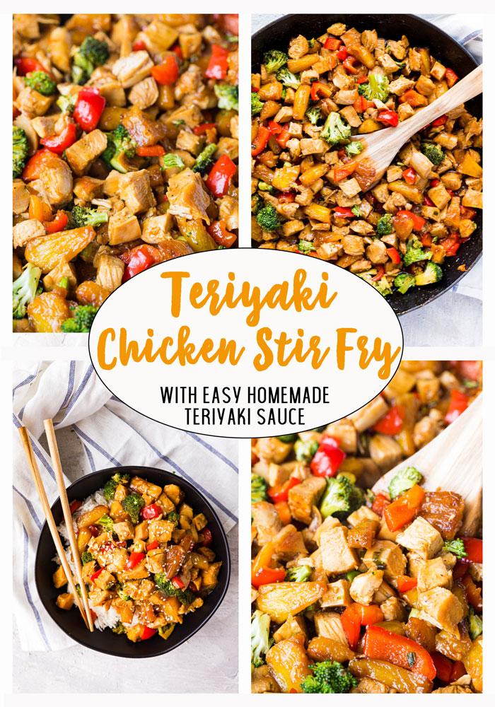 a grid of 4 photos of teriyaki chicken stir fry