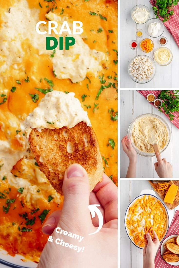 A collage photo of creamy crab dip