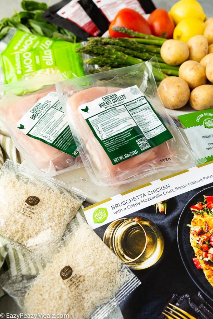 All the ingredients for bruschetta chicken