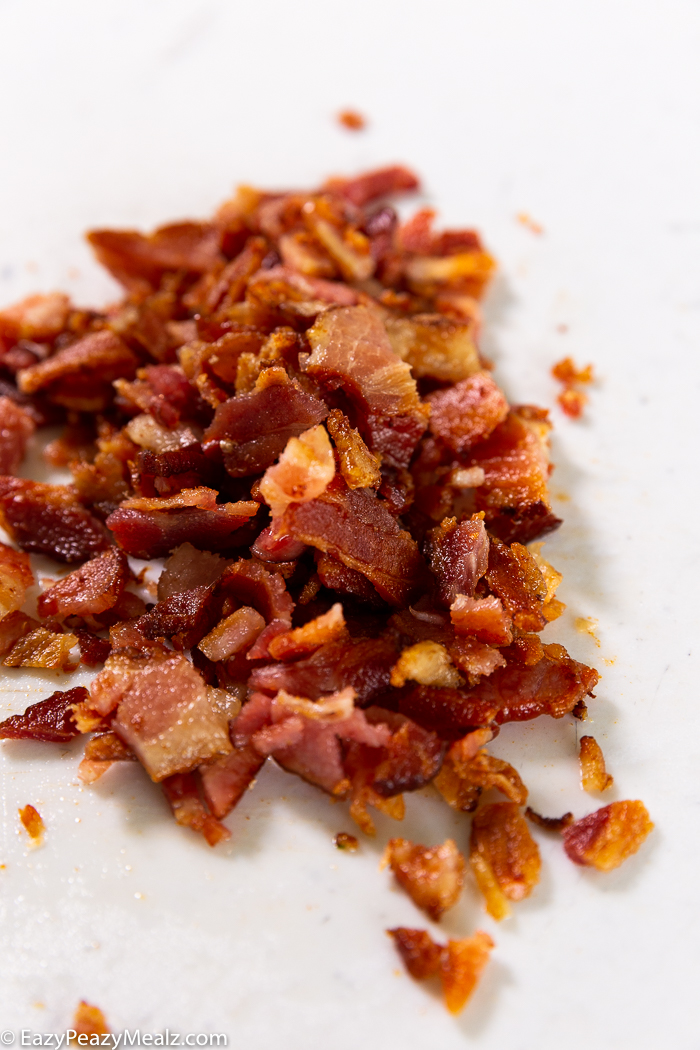 Cooked and rough chopped bacon