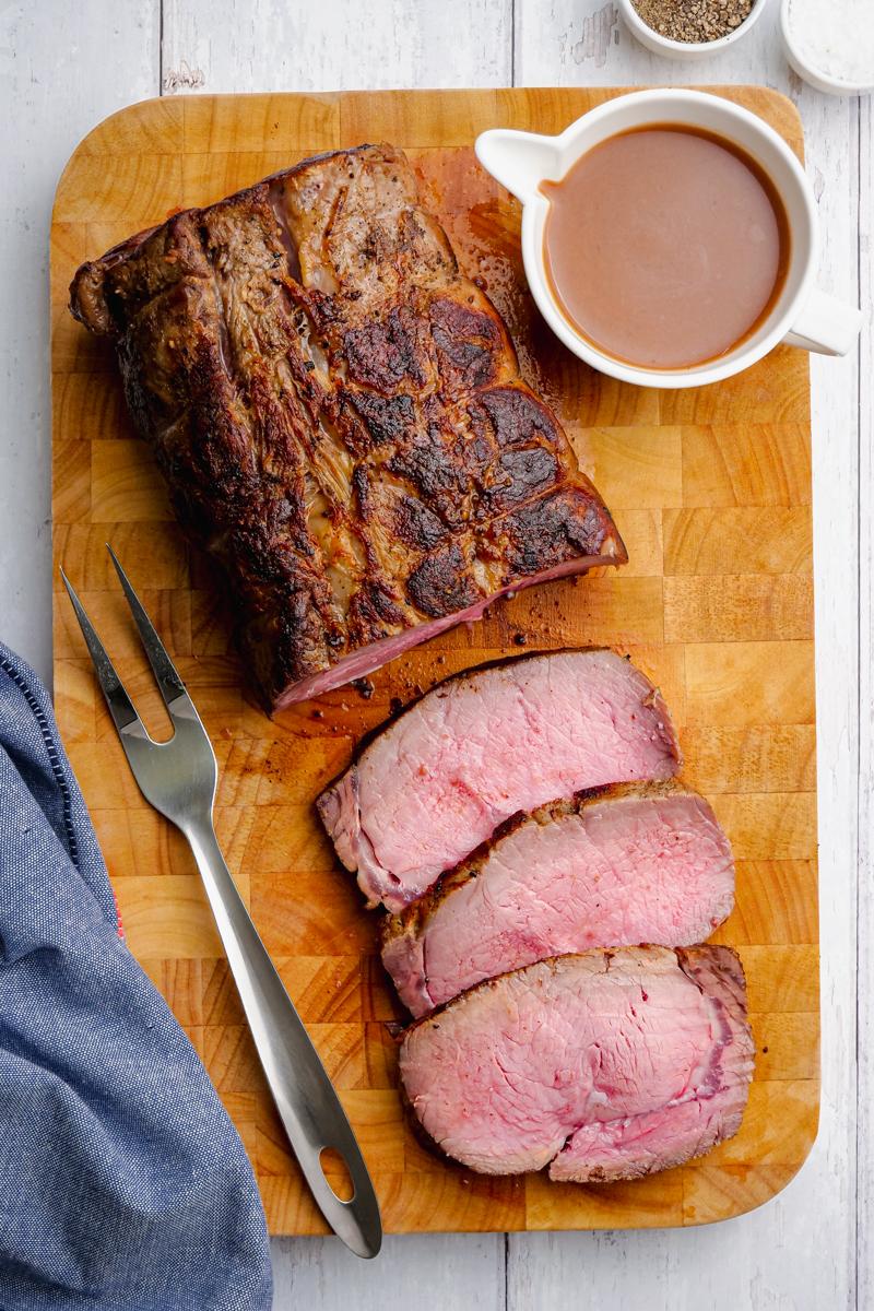 Slicing classic roast beef