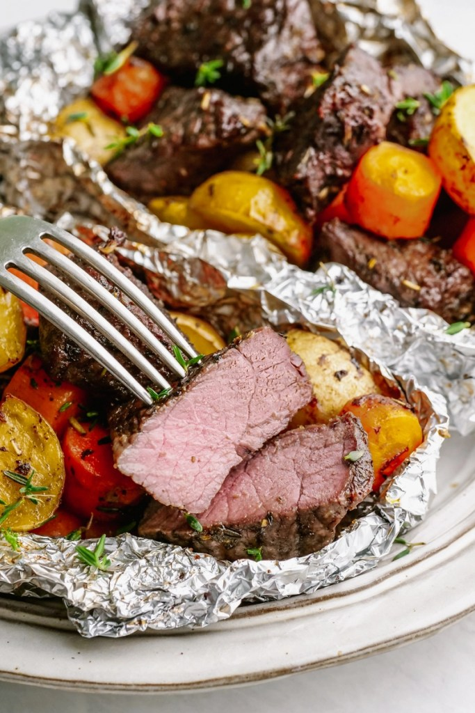 steak and potato foil pack with fork