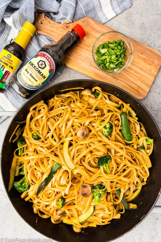 Hibachi noodles in a pan