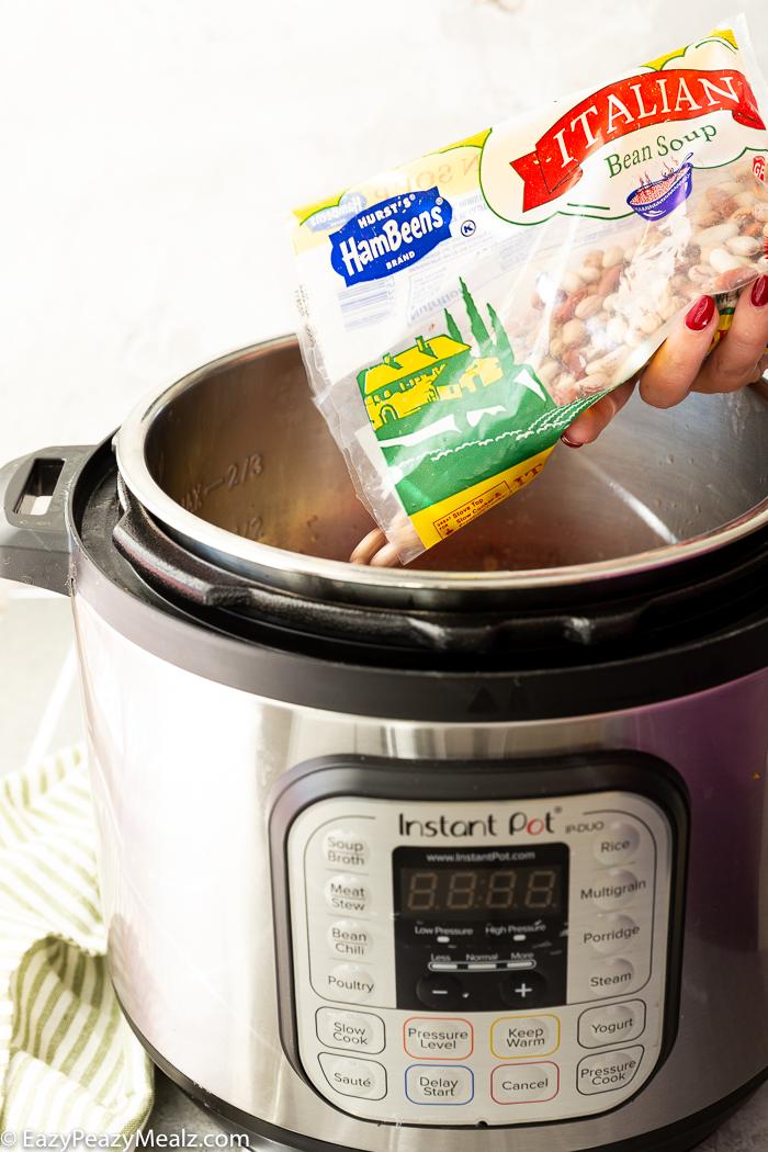 Adding Hurst Ham Beens Italian Bean Mix to instant pot