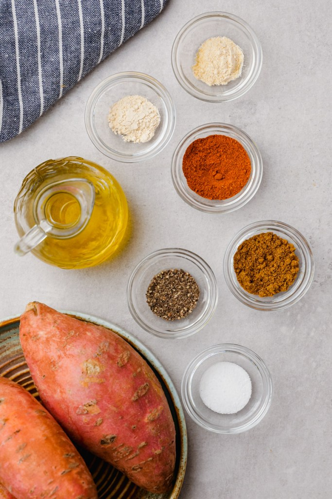 All the ingredients you need to make sweet potato fries that are oven roasted