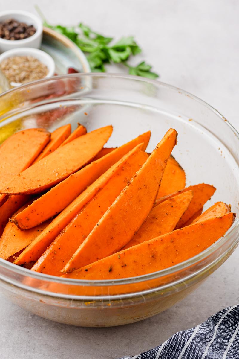 Coated sweet potatoes, with seasoning
