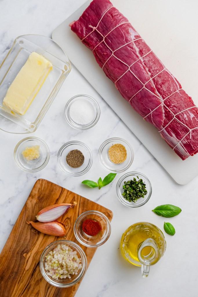 All the ingredients needed  to make roast beef tenderloin
