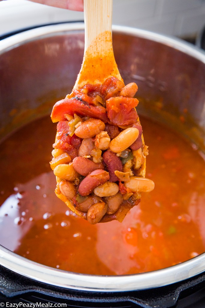 A spoonful of beans and chili