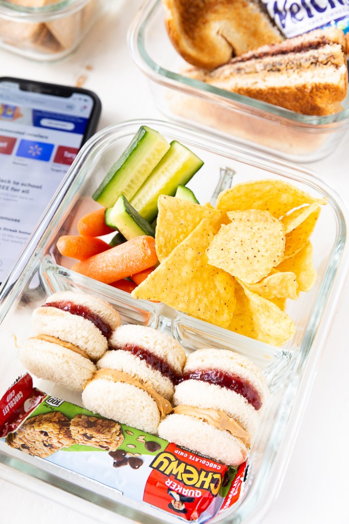 A lunchbox idea using peanut butter and jelly to make tea sandwiches