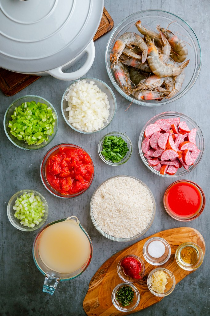 The ingredients you need for a flavorful shrimp jambalaya.