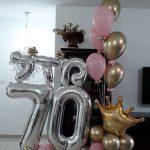 סידור בלונים ליום הולדת 70