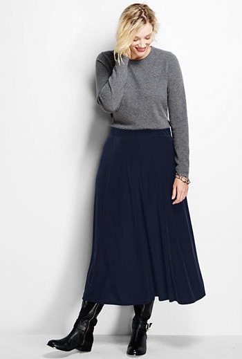 5b5b9863a4 Easily mix velvet into your winter wardrobe with skirts for all occasions.  This navy midi skirt pairs perfectly with basic shirts and sweaters or a ...