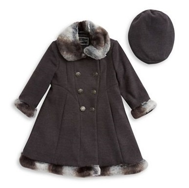 Faux-Fur-Trimmed Swing Coat Beret Set