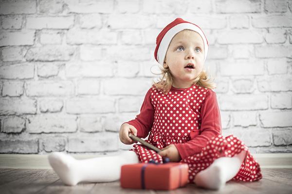Little girl Christmas Santa hat