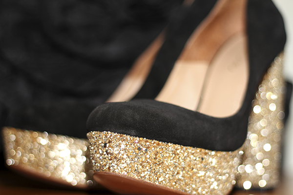 Black and gold high heels