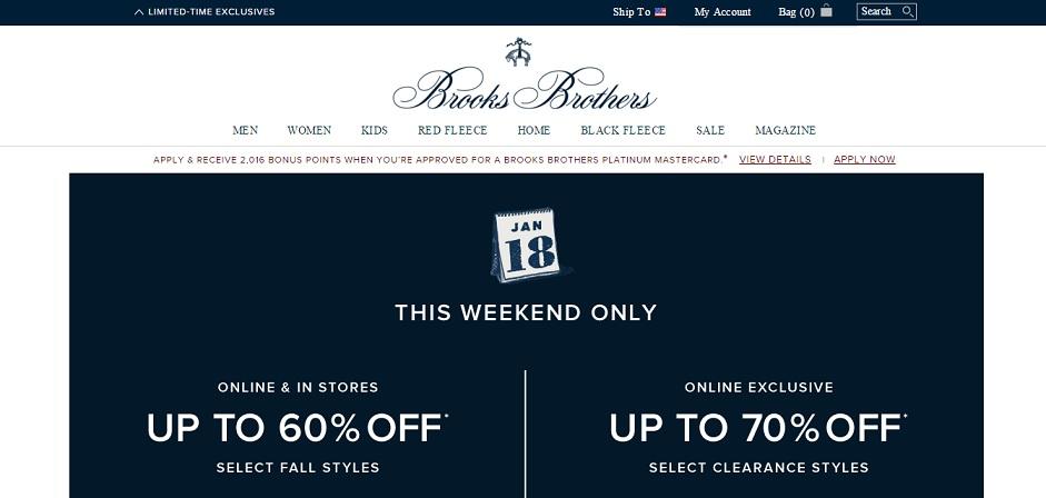 Brooks Brothers Homepage