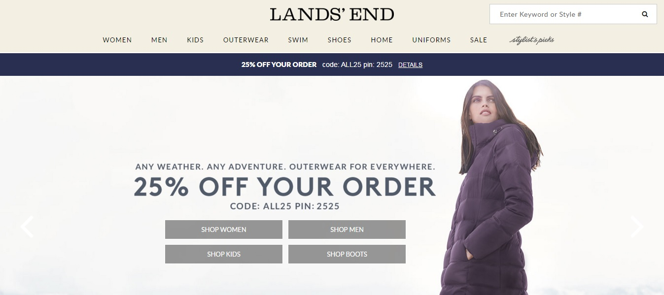 Lands End Homepage