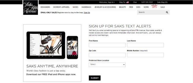 Saks Fifth Avenue Text Alerts