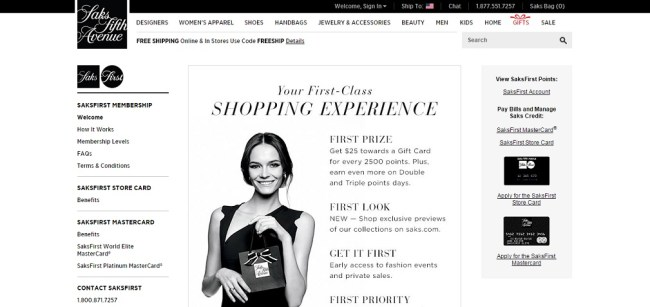 SaksFirst Rewards Program