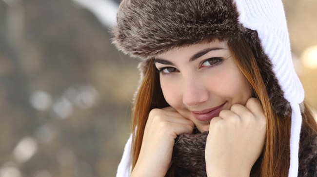 Woman Wearing Hat in Winter