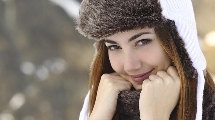 Woman Wearing Hat in Winter