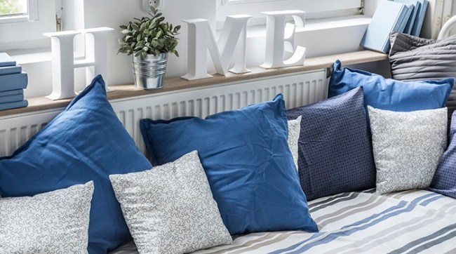 Blue Pillows on Striped Couch