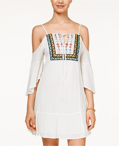 American Rag Cold-Shoulder Embroidered Dress