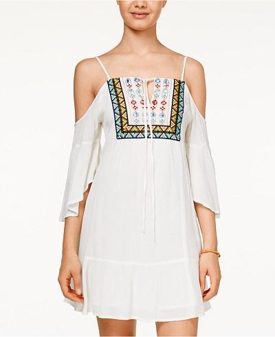 American Rag Cold-Shoulder Embroidered Dress