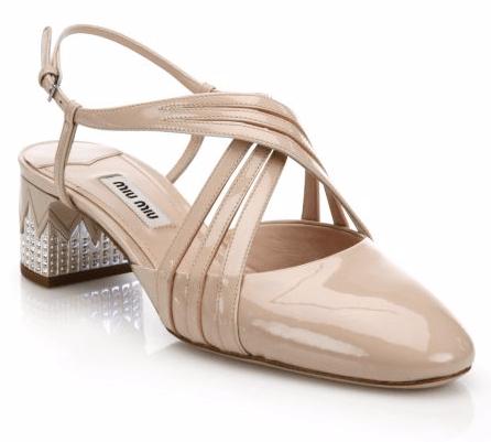 Crystal-Heel Crisscross Patent Leather Pumps