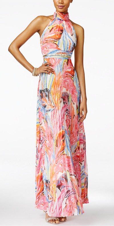 INC International Concepts Printed Pleated Halter Maxi Dress