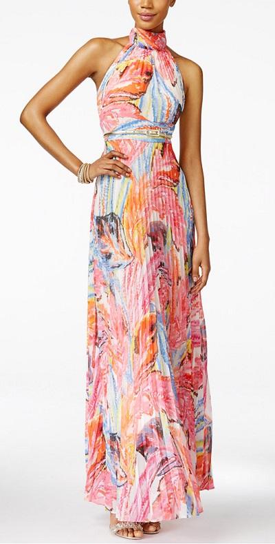 INC International Concepts Printed Pleated Halter Maxi Dress