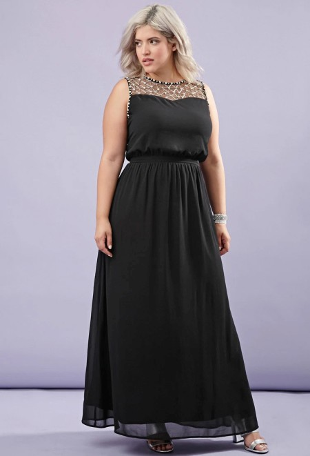 Plus Size Beaded Chiffon Maxi Dress