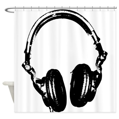 DJ Headphones Stencil Style Shower Curtain