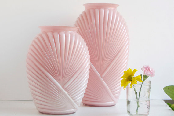 Etsy pink glass vase home decor