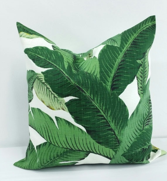 Etsy green palm leaves pillow cover sham