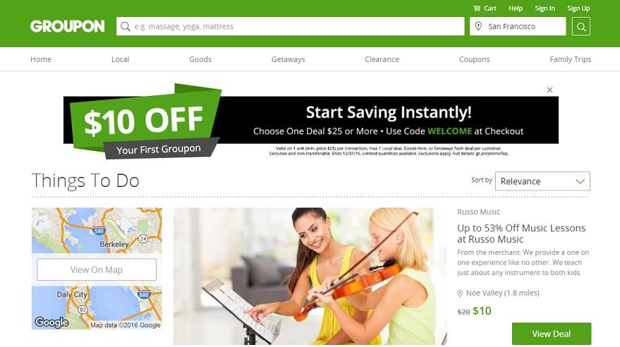 Groupon.com homepage