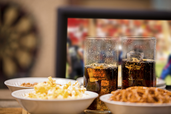 Game room snacks, popcorn and drinks
