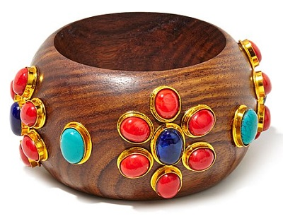 Floral Multicolor Stone Bangle Bracelet