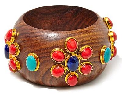 Floral Multicolor Stone Bangle Bracelet