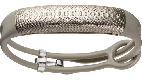 Silver Jawbone fitness tracker bracelet