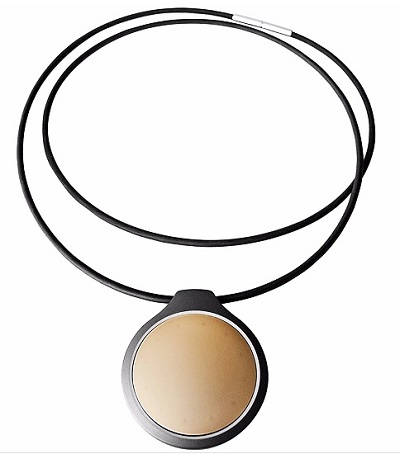 Gold and black Misfit fitness tracker round pendant necklace