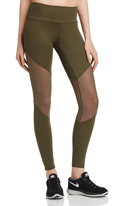 Olive green mesh cut out activewear leggings